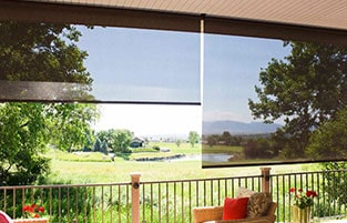 exterior solar shades will provide a shade without blocking the view