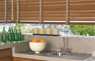horizontal blinds with trim tape add a custom visual appearance