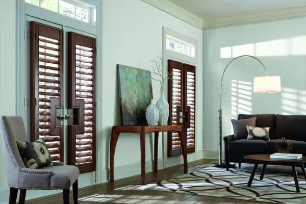 contrasting wood shutters for french doors Solana Beach Ca