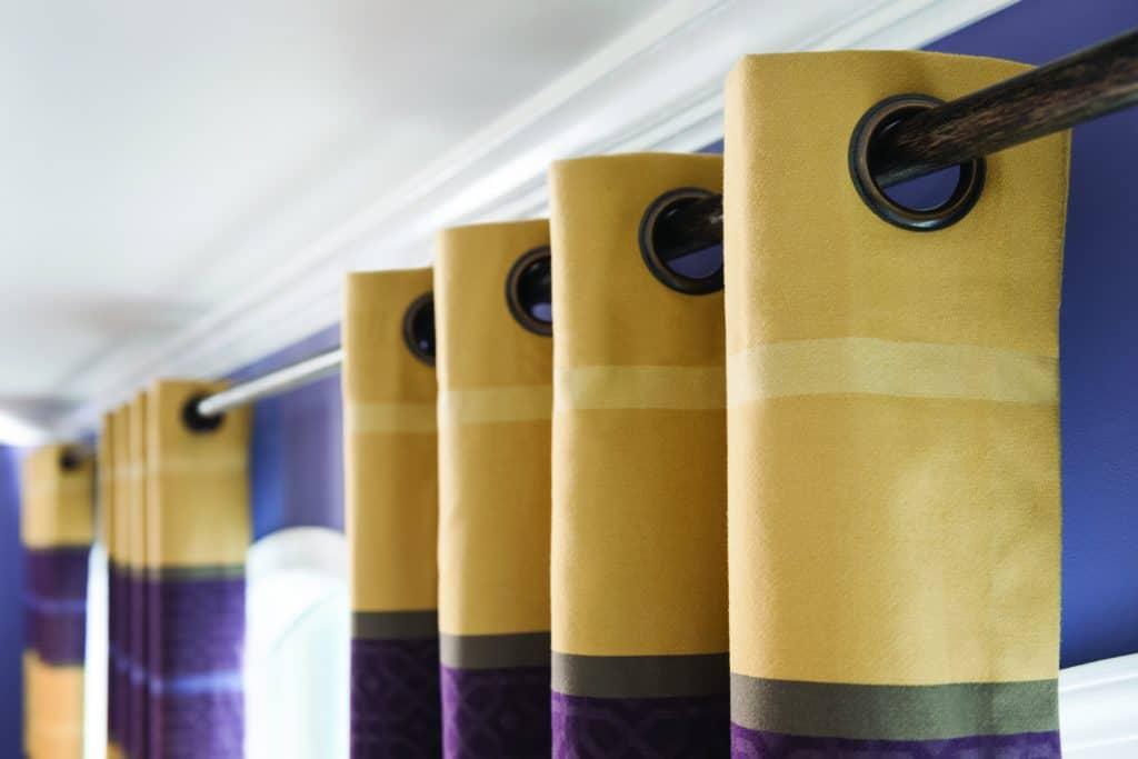 grommet drapery side panels san Diego purple green side panels with rings