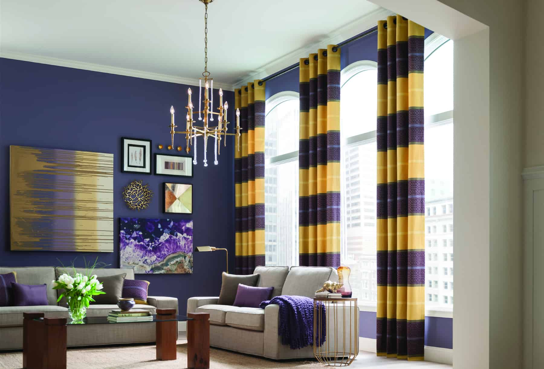 modern draperies horizontal stripes indigo dining room San Marcos Ca