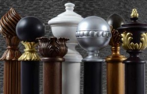 Custom curtain hardware available in different size rods, finial, rings.