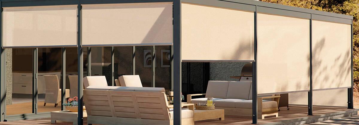 Graber exterior solar shade motorized 7 sisters interiors - Motorized exterior window shades ...