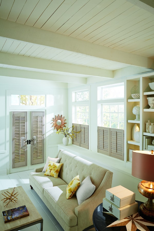 contrasting cafe wood shutters for french doors carlsbad CA