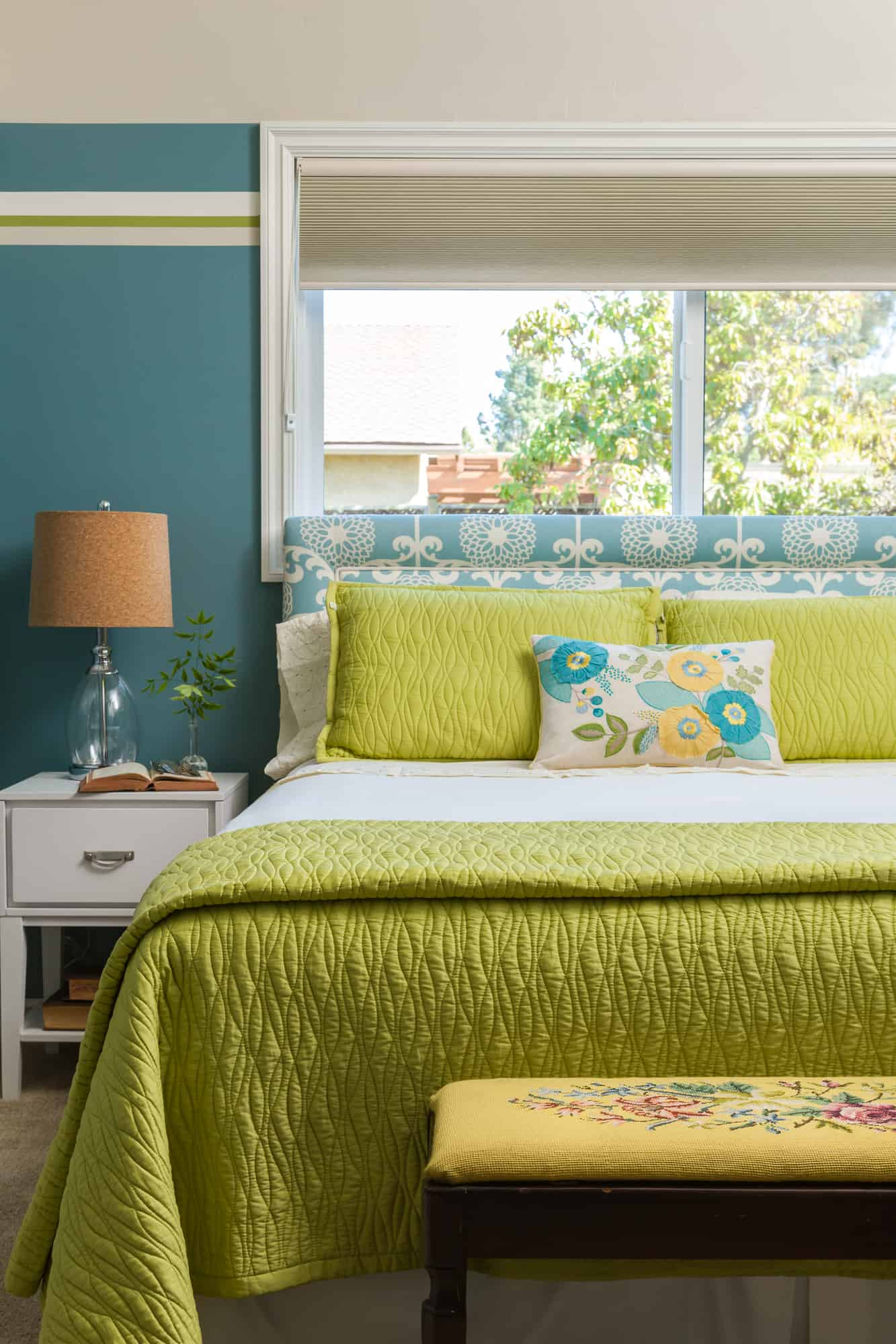 Turquoise teal walls striped with green accents in a guest room ...